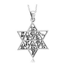 Sterling Silver Star of David Necklace 12 Tribes