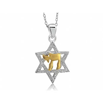 Sterling Silver Star of David Necklace with Vermeil Chai