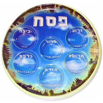 Vinyl Passover Seder Plates - Vibrant Jerusalem - 25 Pack, Seder Plates For All Your Guests