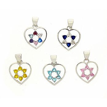 Sterling Heart Pendant with Star of David