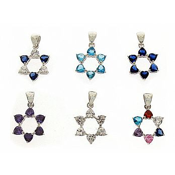 Silver Star of David Pendant - Heart Shaped CZ's