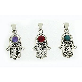 Silver Filigree Hamsa Pendant - Colored Stone