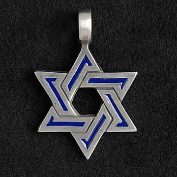 Pewter Star of David Necklace - Blue Enamel