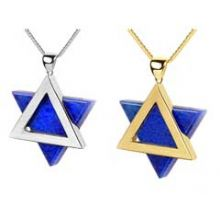 14K Gold Star of David with Lapis Stone