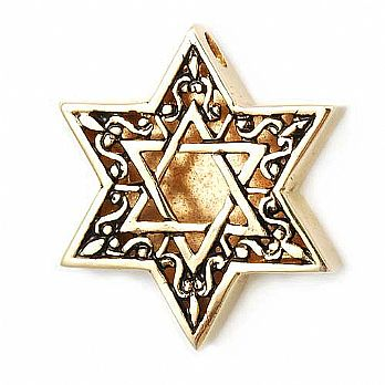 9K Gold Thick Star of David Pendant