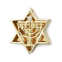 9K Gold Thick Star of David with Menorah