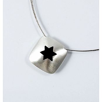Sterling Silver Cusion Necklace with Enameled Star