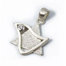 Sterling Silver Dove Star of David with CZ