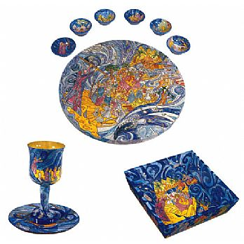 Wood Seder Set By Emanuel - Exodus from Egypt