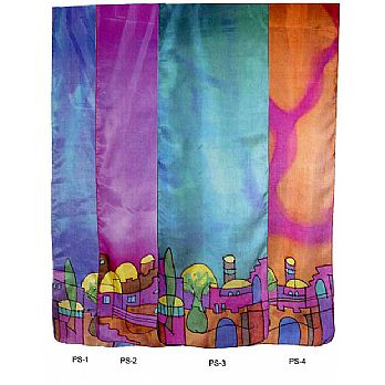 Judaic Painted Silk Scarves - Jerusalem