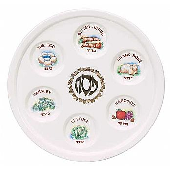 Porcelain Seder Plate - Illustrated