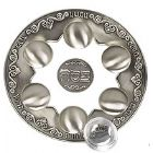 Pewter & Glass Seder Plate with 6 Trays