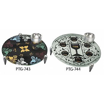 Glass Seder Plates with Aluminum Legs