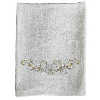 Pesach Towel Urchatz - White with Silver Embroidery