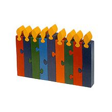 Freestanding Menorah Wood Puzzle