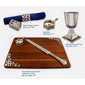 Byzantine Collection Shabbat Table Set - Silver