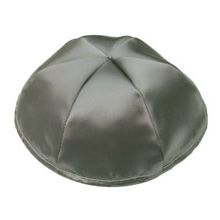 Satin Kippot with Optional Personalization - Dark Grey