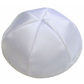 Satin Kippot with Optional Personalization - White