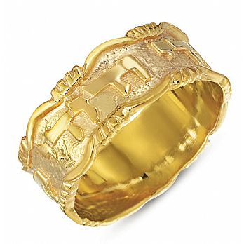 Gold Ani Ledodi Wedding Band - Ornate