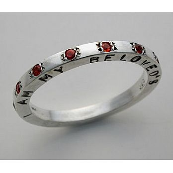 Sterling Silver & Garnet ''I am my beloved's'' Band