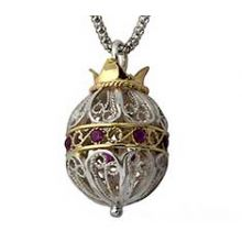 925 Sterling Silver & 9k Gold Filigree Pomegranate Necklace set with Rubies