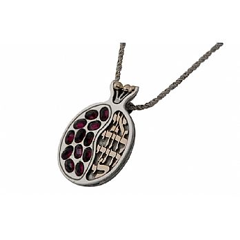 Sterling Silver and 9k gold Pomegranate Pendant with Rubies