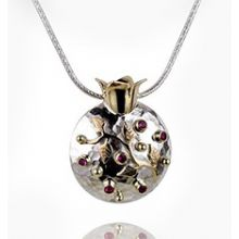 Sterling Silver and 9k gold Hammered Pomegranate with Rubies