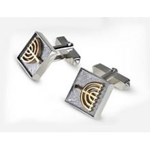 Sterling Silver & 9K Judaic Cufflinks with Menorah