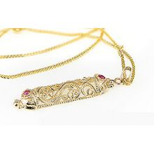 14K Gold Filigree Mezuzah Pendant with Rubies