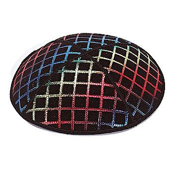Foil Embossed Suede Kippah - Quilted Pattern