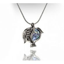 Sterling Silver Chai Pomegranate Pendant with Roman Glass