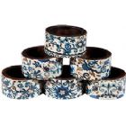 Emanuel Wood Printed Napkin Rings, Set of 6- Blue