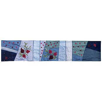 Judaic Table Runner - Pomegranate on Blue