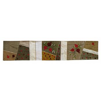 Judaic Table Runner - Pomegranates on Gold