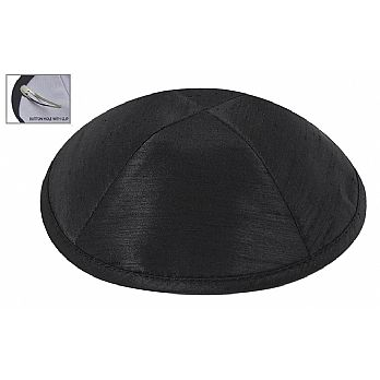 Raw Silk Imprinted Kippot - Black