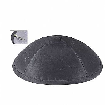 Raw Silk Imprinted Kippot - Dark Grey