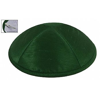 Raw Silk Imprinted Kippot - Green
