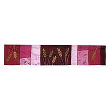 Judaic Table Runner - Wheat on Maroon