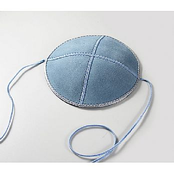 Suede Baby or Toddler Kippah w/Straps - Light Blue/Silver Trim