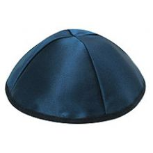 Premium Personalized Satin Kippot - Navy Blue