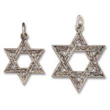 Antiqued Sterling Silver Star of David Pendant