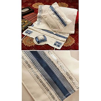 Soft Cotton Luxurious Tallit Set - Blue Silk Stripes & Silver