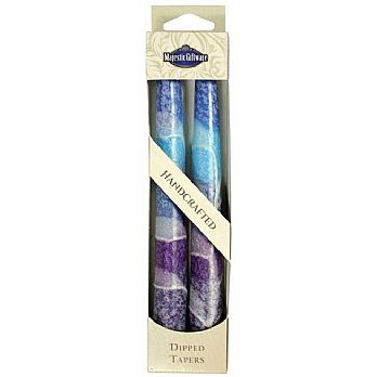 Long Twin Pack Tappered Shabbat Candles - Blues
