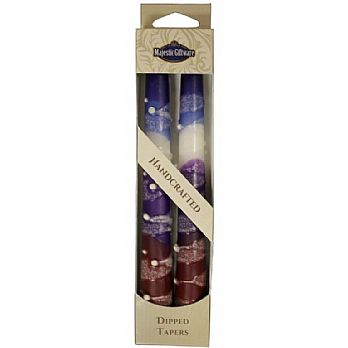 2 Pack Safed Taper Candle - Snow Purple Drops