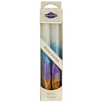 2 Pack Safed Taper Candle - White Turquoise