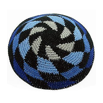 Tightly Knitted Yarmulke In Multi Blue Black and grey