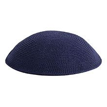 Hand Knitted Kippot - Navy