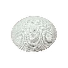 Solid White Knitted Yarmulke For Any Occasion