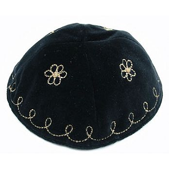 Embroidered Velvet Kippah