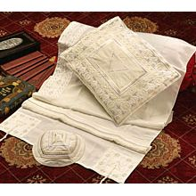 Soft Cotton Luxurious Tallit Set - Silver / White / Cream